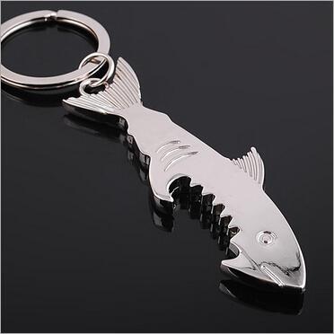 free shipping 5pcs/lot Manufacturers supply shark shark keychain bottle opener keychain promotional gifts trinket(China (Mainland))