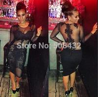 Bandage Dress 2015 Women Long Sleeve Black Lace Dress Midi Bodycon Bandage Dess Clubwear Sexy Dress S9001