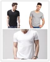 1Piece Men's Cotton V-neck Basic Plain TEE T-Shirt Short Sleeve Top Blouse