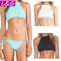 New 2015 Women Bikini Swimsuit Crochet Swimwear Sexy Push Up Bikinis Brazilian Bathing Suit Blusas Femininas Crop Tops 30004