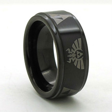 Legend of Zelda Tungsten Ring Shiny Black Stepped Edges Band Size 6 – 13 (#NR08PBL)