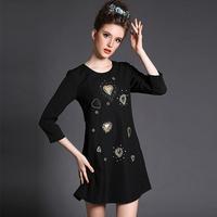 Plus Size Women Clothing Black Dress Heart Pattern Beading Shift 3/4 Sleeve 2015 Spring Vestidos 4XL,5XL,#BL-G363
