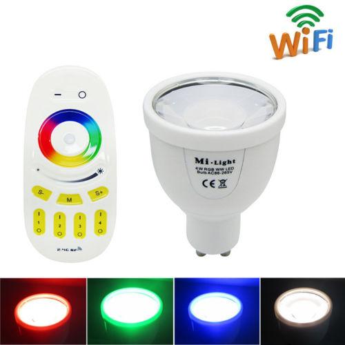 Smart home garden 2.4G Wireless WIFI 4W GU10 RGBW Led Spotlight Bulb decoration Lamp + 2.4G 4 Zone RGBW Remote Control(China (Mainland))