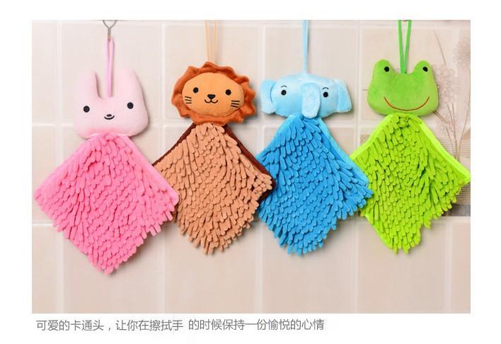 Free Shipping Chenille Hand Towel Soft Plush Fabric Cartoon Animal Wipe Hanging Bathing Towel 5 pieces/lot(China (Mainland))
