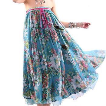 2015 новый модный женщины длиннее шифоновое юбка цветок юбка эластичный пояс шнурок ...