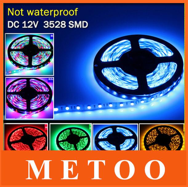 New Arrival 5M 300Leds Non-waterproof RGB Led Strip Light 3528 DC12V 60Leds/M Fiexble Light Led Ribbon Tape Home Decoration Lamp(China (Mainland))