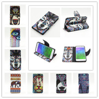 New Animal Head Series Phone Cases Covers Flip Stand Wallet Case Cover With Card Holder For Samsung Galaxy Alpha G850F G850A