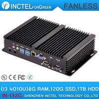 Fanless Mini PCs with Intel i3 4010u processor 2 COM 4 USB3.0 with 8G RAM 120G SSD 1TB HDD