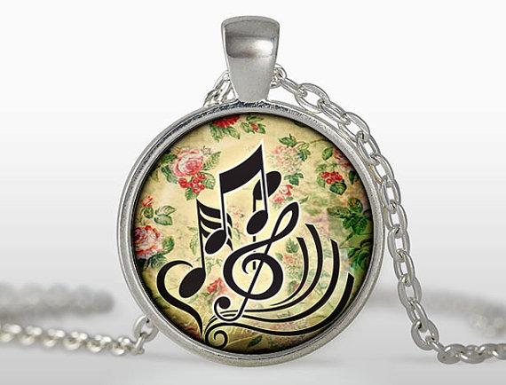 (3 pieces/lot) Fashion colares femininos Music key pendant Flower nekclace Music Jewelry Musicians Art Pendant for Best friends(China (Mainland))