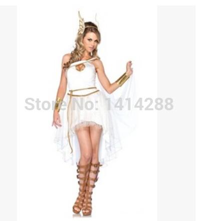 Hot Selling Adult Halloween Women Costume Greek Goddess Costume Cute Roman Princess Costume 4PCS Dress+Headwear+Handwear+Belt(China (Mainland))