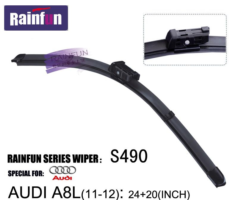 "RAINFUN S490 24""+20"" FIT FOR 2011 2012 AUDI A8L WINDSCREEN WIPER BLADE, HIGH QUALITY RUBBER REFILL, 2 PCS A LOT(China (Mainland))"
