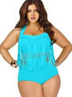 Sexy Women's Plus Size Swimwear Tassels High Waist Fat Women's Bikini Set Summer Push Up Bikini Brazilian Bathing Suit FREE SHIP