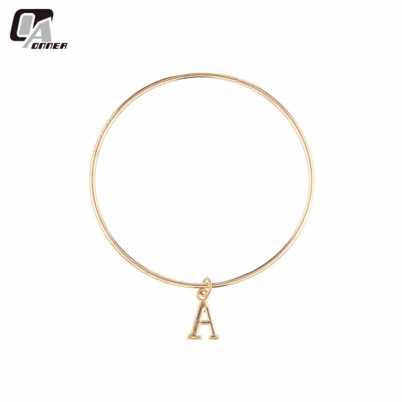 Fashion jewelry womens accessorise white & 18k gold plated alphabet bangles bracelets for women a b c h initial bangle bracelet(China (Mainland))