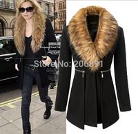Women Fur Collar Long Woolen Coat 2015 New Arrival Free Shipping Covered Button Fur Collar Woolen Coat C-27