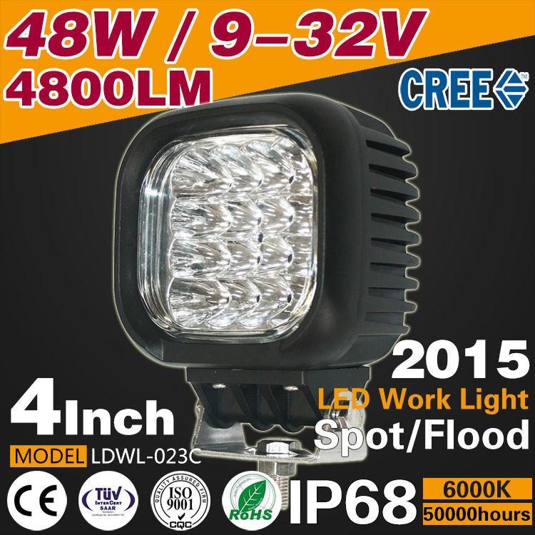 4 дюймов 48 Вт 4800LM из светодиодов автомобиль работа свет лампы / прожектор 6000 К место / луч потока алюминий 9 - 32 В трактор лодка - дорога 4WD грузовик usv