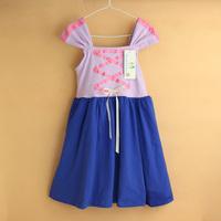 2015 new baby dress girl Rapunzel dress girls dresses  knit cotton kids clothes princess purple casual dress baby clothing