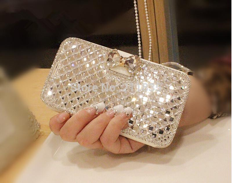 Hot Fashion Luxury Bling Rhinestone Diamond Leather Case For iPhone 6 4.7 inch Plus 5.5'' Wallet Flip Leather MOBILE PHONE Case(China (Mainland))
