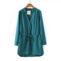 P48 2015 New Fashion Spring Summer Dress Women Dress Elegant Casual One-Piece Dress Drawstring Waist V-Neck Long-Sleeve Dress