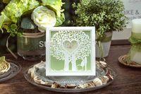 50pcs/lot Customized Invitation Cards 2015 Fresh Green Color Wedding Card  Free Design/Envelope Size (L)150*(W)25*(H)150MM