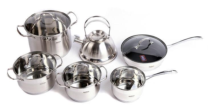 German Brand Cooking Pots Hoffner 12pc Of Multi-purpose Stainless Steel Cookware Set Saucepan Frypan Pan Set Cooking tools(China (Mainland))