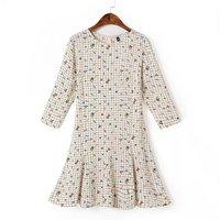 P44 2015 New Fashion Spring Summer Dress Women Dress Elegant Casual One-Piece Dress Graffiti Checkered Dress