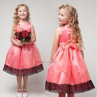 1pc Retail NEW 2015 Summer girl dress Elegant party baby girl princess dresses flower wedding dress free shipping 3 colors