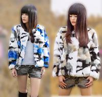 Real Fur Material Camouflage Rex Rabbit Fur Coat with Long-sleeve Short Design come Blue + Orange Colors