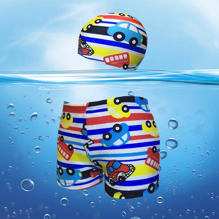2015 New Quick Dry Boys Swim Shorts Cartoon Print Kids Swimwear Boys Boxer & Swimming Trunks with Cap Top Selling, C364(China (Mainland))
