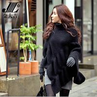 Women Batwing Sleeve Asymmetrical Turtleneck Cloak Sweater Loose Irregularity Poncho Cape Knitted Tops Coat Oversized Shawl