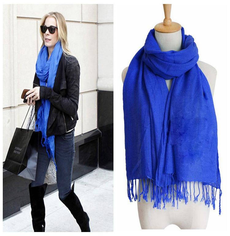 2015New Huge Range Solid Cashmere Pashmina Shawl Wrap Super Soft And Warm Silk Wool Blend Fringed Scarf Stole Unisex 13 Colors(China (Mainland))