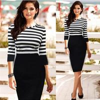 New Women Dress Spring Summer Striped Three Quarter Sleeve O-neck Sheath Casual Brief Ladies Dress cx853720