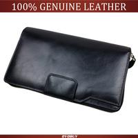 2015 New Top Quality men clutch wallet genuine leather Cowhide men zipper clutch bag business big wallets phone bag
