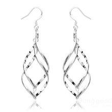 HotHeart 925 Silver Plated Earrings Double Banana Shape Ear Drop Jewelry(China (Mainland))