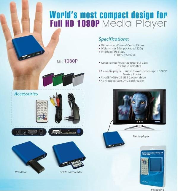 20pcs Wholesale Mini Media Player Mini 1080P HDMI SD/USB HD Media Player MKV/RM/RMVB(Blue)_DHL(China (Mainland))