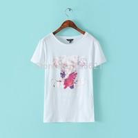 New Arrival 2015 Summer Fashion Women T Shirt Colorful Flower Letter Print O-Neck Short-Sleeve Black White Cotton T-Shirts S M L