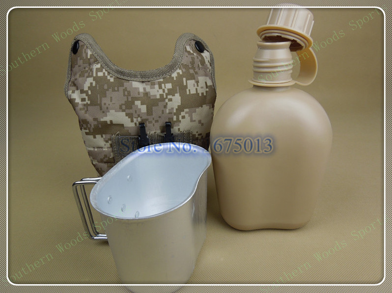 1L polymer army military camping water canteen water bottle with keep warm fluff bag and aluminum cup 3 color 465g Free shipping(China (Mainland))