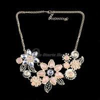 Womens Rhinestone Necklace Collar Chain Pendant Pink Bright Flower Choker Statement 2015 New Fashion