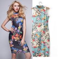 2015 spring and summer women's  digital printing high elastic Slim package hip dress 9909