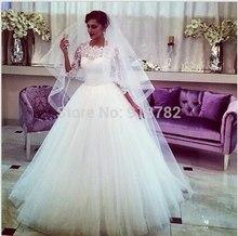 Vestidos De Noiva 2015 Custom Made Elegant Stunning Ball Gown Muslim Lace Sleeve Wedding Dress(China (Mainland))