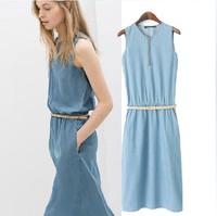 New summer big zipper denim dress women Slim Belt Dress 9908