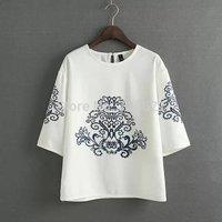 New Brand Women Ethnic Style Blouse 3/4 Sleeve O-Neck Shirt Spring Women Temperament Slim Shirt Simple Elegant Tops Blusas