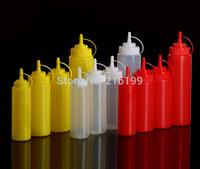 1PC Clear Plastic Squeeze Bottle Condiment Dispenser Ketchup Sauce Mustard 3Colors