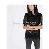 Womens Casual Tops Cotton Crochet Lace T-Shirt O-Neck Half Sleeve Black White Basic T Shirt Blusa Renda Girls Tee Shirt Hot Sale