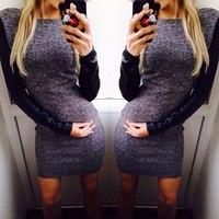 new fashion dress warm autumn and winter women mini dresses Long-sleeved casual dress