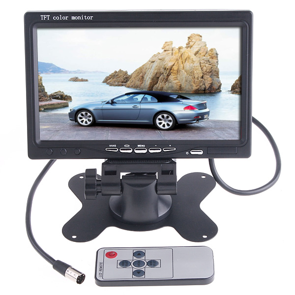 "Universal 7"" inch HD LCD Car Monitor Color TFT for Rear View Camera Security Reverse Backup Parking VCR DVD Player 2 AV input(China (Mainland))"
