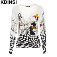 KDINSI Brand Fashion Beauty Pattern Print Plaid Knitted Cardigan Sweater V Neck Short Sweater for Women 2015 Autumn High Quality