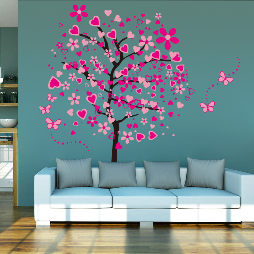 product Pink butterfly flower tree 2015 NEW Living Room Bedroom Backdrop home decor tree wall sticker stickers 30CM*90CM*4