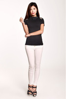 Sweet Style Round Collar Rhinestone Bow Decorated Short Sleeves Cotton T-shirt Black/White