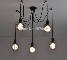 Vintage Nordic Loft Edison Bulb Chandelier Retro Ceiling Spider Pendant Lamp Antique Adjustable DIY E27 Art Light Fixture(China (Mainland))