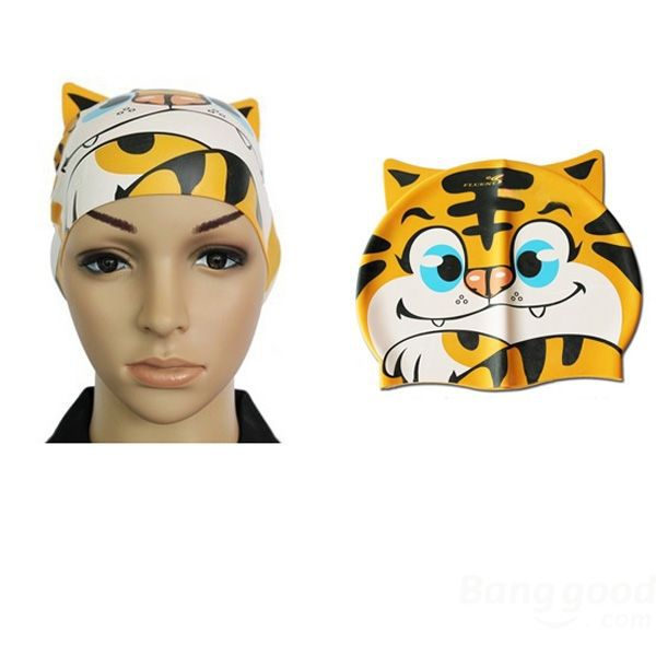 SmileSky Children Silicone Animal Cartoon Swimming Cap Tiger Swimming Hat(China (Mainland))